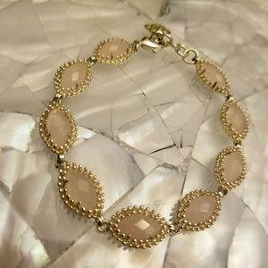 Rare Kendra Scott Rose Quartz Jana Bracelet Gold